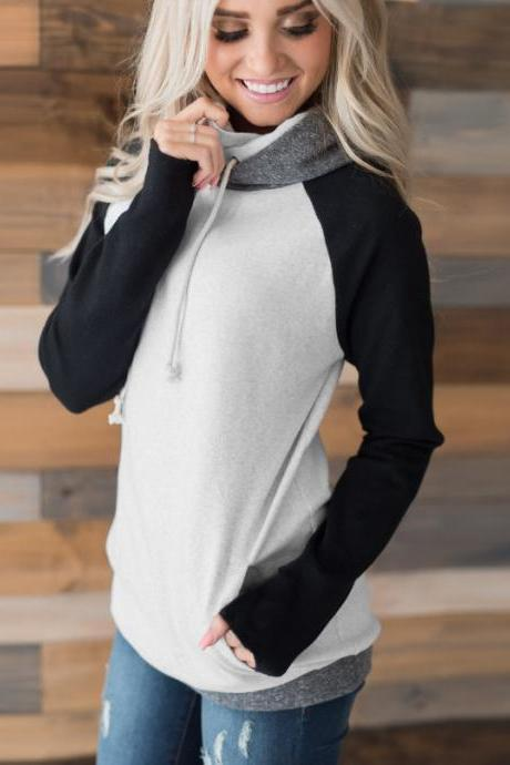 Women Striped Patchwork Hoodie Autumn Winter Casual Pullover Long Sleeve Pockets Hooded Sweatshirt 0597-black