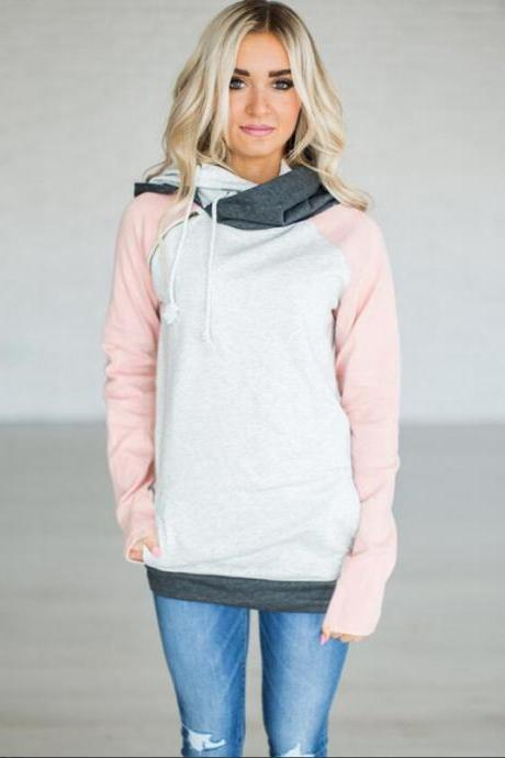 Women Striped Patchwork Hoodie Autumn Winter Casual Pullover Long Sleeve Pockets Hooded Sweatshirt 0597-pink
