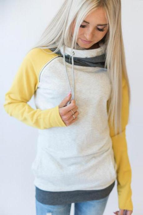 Women Striped Patchwork Hoodie Autumn Winter Casual Pullover Long Sleeve Pockets Hooded Sweatshirt 0597-yellow