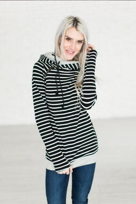 Women Striped Patchwork Hoodie Autumn Winter Casual Pullover Long Sleeve Pockets Hooded Sweatshirt 0598-black