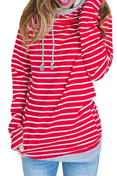 Women Striped Patchwork Hoodie Autumn Winter Casual Pullover Long Sleeve Pockets Hooded Sweatshirt 0598-red