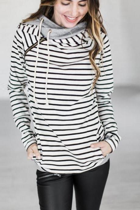 Women Striped Patchwork Hoodie Autumn Winter Casual Pullover Long Sleeve Pockets Hooded Sweatshirt 0598-white