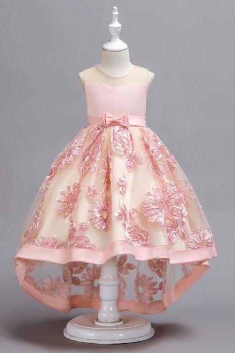 High Low Lace Flower Girl Dress Embroidery Trailing Formal Birthday Party Gown Children Clothes pink