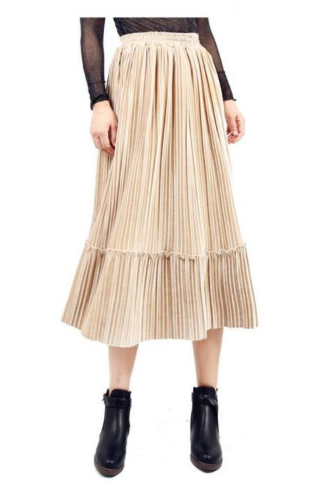 Women Velvet Pleated Skirt Autumn Winter Elastic High Waist Streetwear Below Knee Casual Midi Skirt apricot
