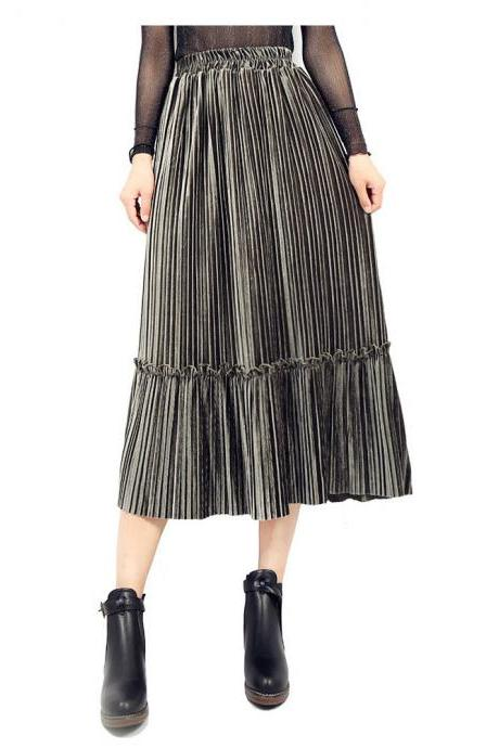 Women Velvet Pleated Skirt Autumn Winter Elastic High Waist Streetwear Below Knee Casual Midi Skirt army green