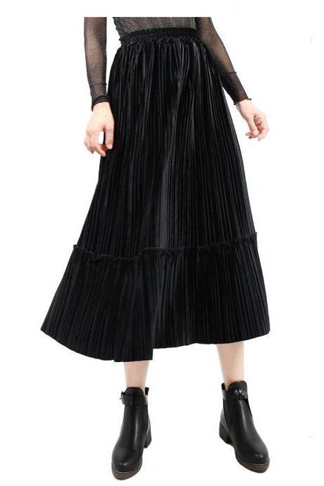 Women Velvet Pleated Skirt Autumn Winter Elastic High Waist Streetwear Below Knee Casual Midi Skirt black