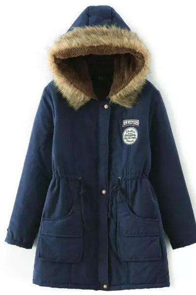 Winter Women Cotton Coat Parka Casual Military Hooded Thicken Warm Long Slim Female Jacket Outwear navy blue