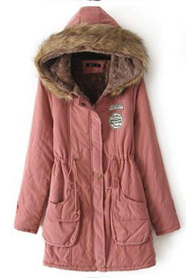 Winter Women Cotton Coat Parka Casual Military Hooded Thicken Warm Long Slim Female Jacket Outwear old pink