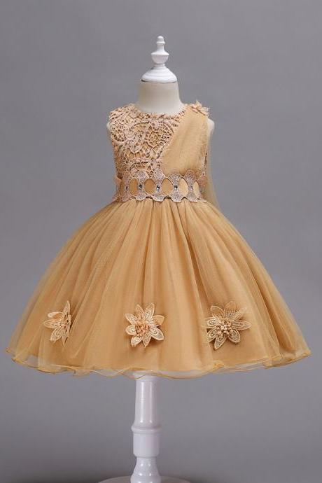 Lace Flower Girl Dress Sleeveless Kids Bridesmaid Formal Party Tutu Gowns Children Clothes khaki
