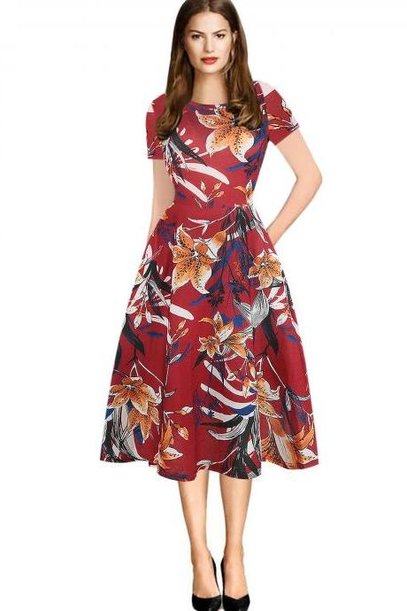 Women Floral Printed Slim Dress Vintage Short Sleeve Knee Length A-line Rockabilly Casual Party Dress 10#