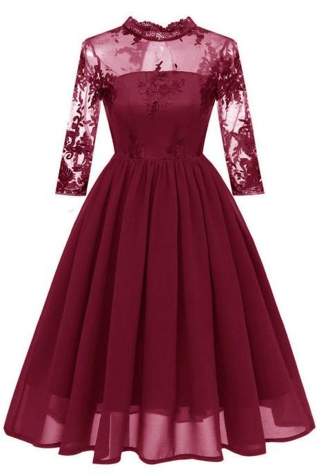 Embroidery Women Casual Dress Lace High Neck 3/4 Sleeve Hollow Out Slim A-Line Work Office Party Dress burgundy