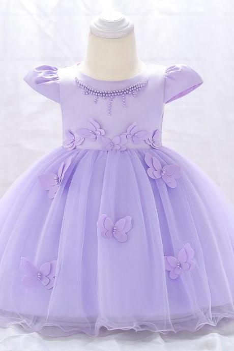 Newborn Baby Girl Dress Cap Sleeve Butterfly Flower Birthday Party Tutu Gown Children Clothes lilac