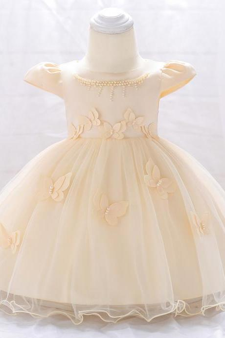 Newborn Baby Girl Dress Cap Sleeve Butterfly Flower Birthday Party Tutu Gown Children Clothes champagne