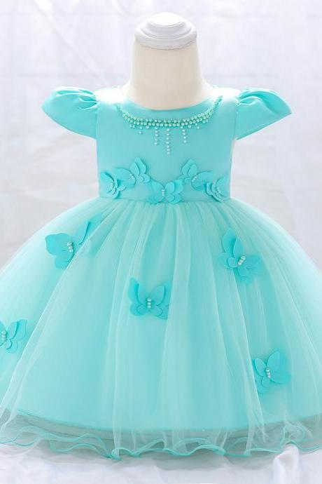 Newborn Baby Girl Dress Cap Sleeve Butterfly Flower Birthday Party Tutu Gown Children Clothes aqua