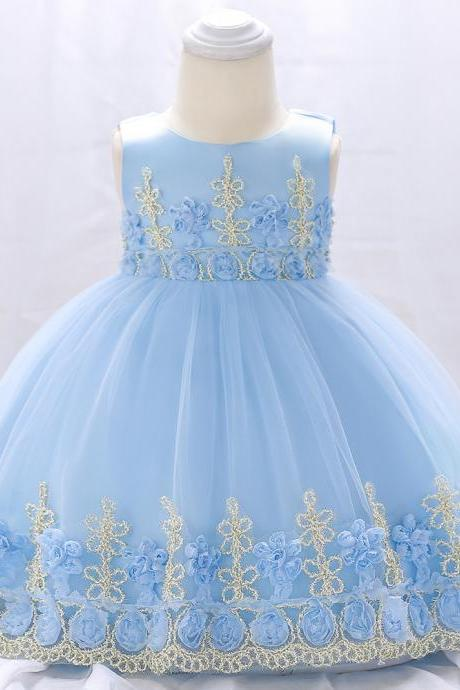 Newborn Baby Flower Girl Dress Floral Lace Baptism Birthday Party Ball Gown Children Clothes sky blue