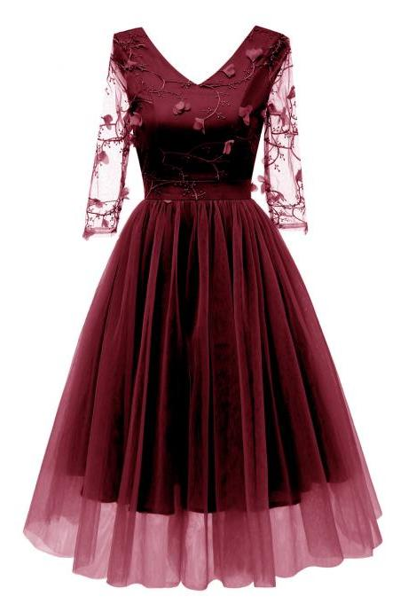 Women Casual Dress 3D Floral Embroidery Lace V Neck 3/4 Sleeve A Line Formal Evening Party Dress burgundy