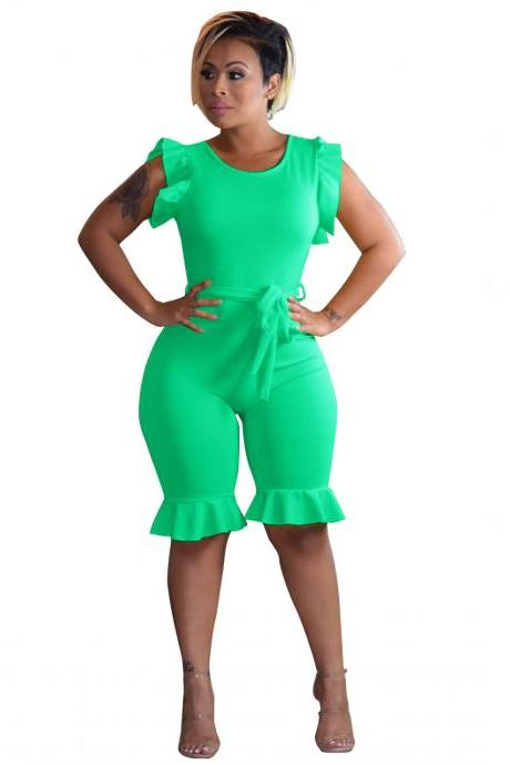 Women Sleeveless Jumpsuit Ruffles Belted Knee Length Casual Slim Night Club Party Rompers green