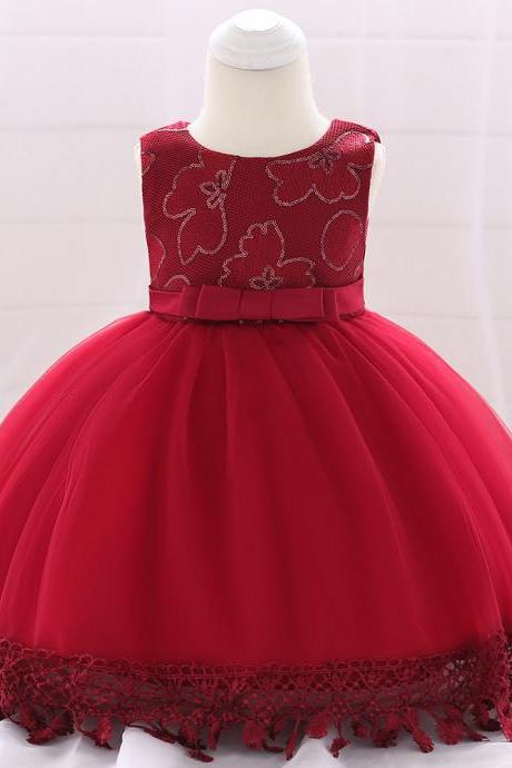 Newborn Baby Girl Baptism Dress Princess Lace Birthday Party Tutu Gown Children Clothes crimson