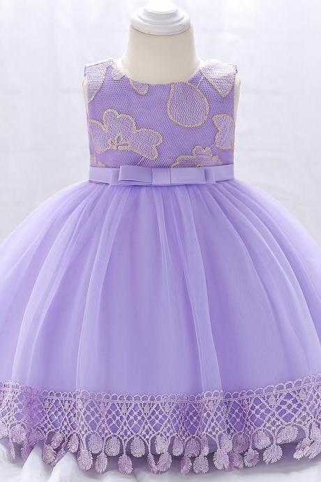Newborn Baby Girl Baptism Dress Princess Lace Birthday Party Tutu Gown Children Clothes lilac