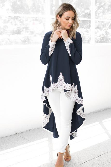 Women Asymmetrical Dovetail Dress Autumn Casual Long Sleeve Lace Patchwork High Low Party Dress navy blue
