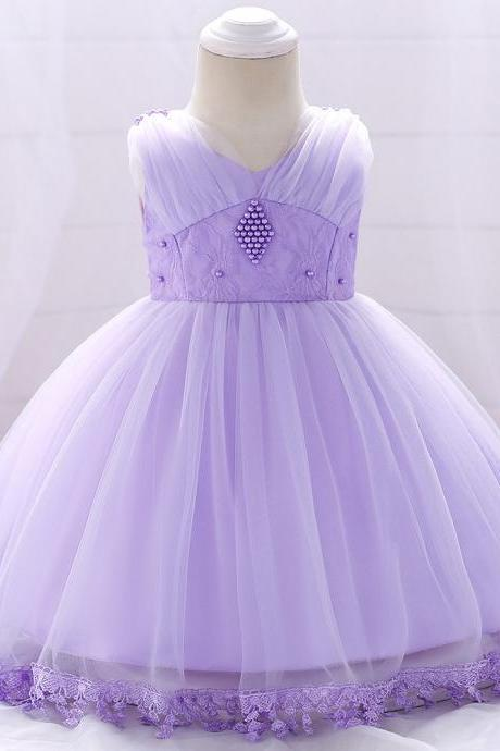 Baby Flower Girl Dress Infant Newborn Princess Lace 1 Year Birthday Party Tutu Gown Children Clothes lilac