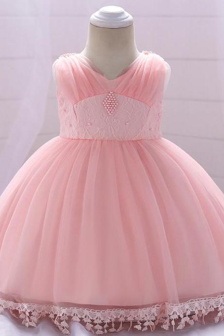 Baby Flower Girl Dress Infant Newborn Princess Lace 1 Year Birthday Party Tutu Gown Children Clothes salmon