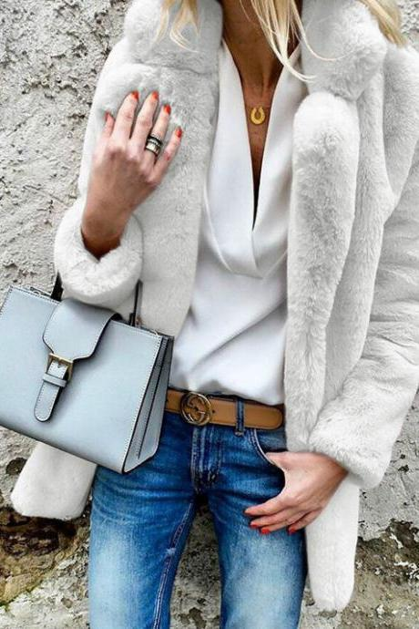 Woman Faux Fur Coat Winter Warm Long Sleeve Lapel Neck Casual Long Jacket Outwear off white