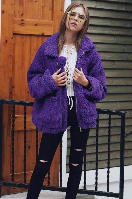 Women Faux Fur Coat Winter Turn-down Collar Thick Warm Casual Long Sleeve Plush Jacket Outwears purple