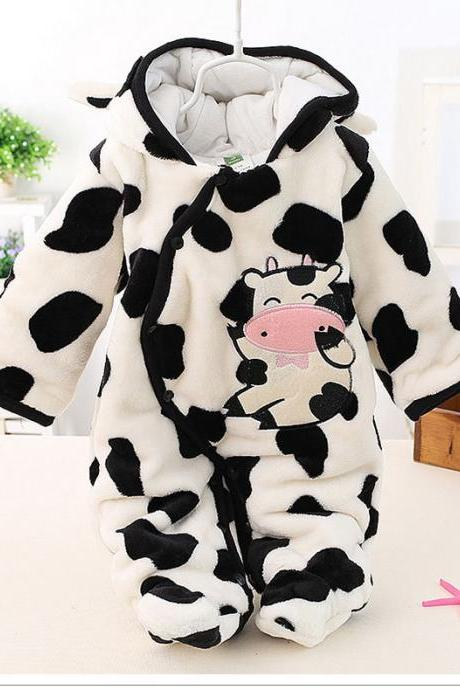 Infant Kids Baby Boys Girls Flannel Jumpsuit Autumn Winter Cute Warm Hooded Long Sleeve Cartoon Romper Outfits off white