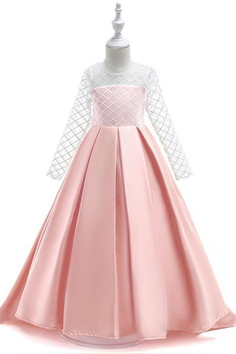 Lace Flower Girl Dress Long Sleeve Trailing Princess Formal Evening Party Gowns Children Clothes pink