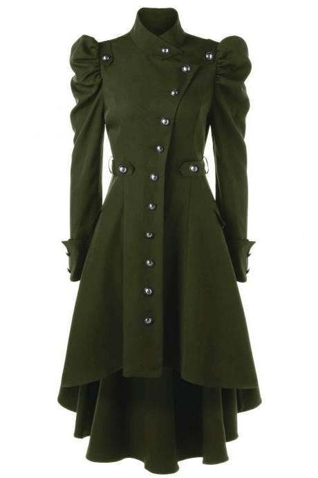 Women Asymmetric Coat Autumn Winter Stand Collar Long Sleeve Single-Breasted High Low Slim Jacket Outwear army green