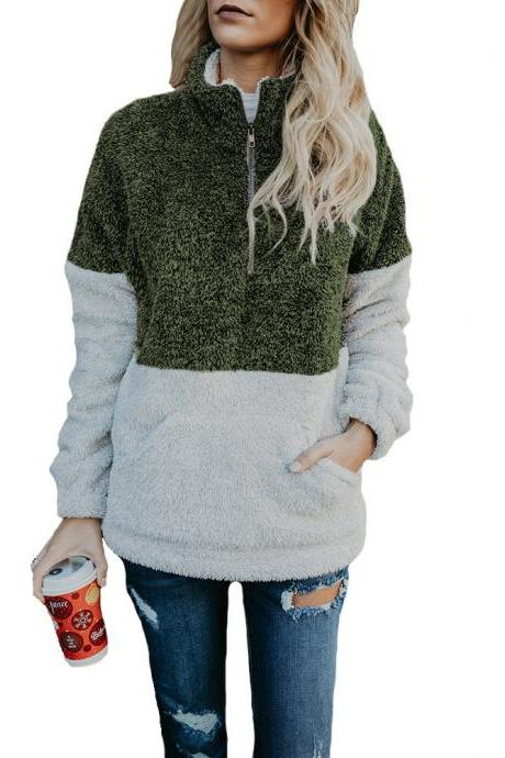 Women Sweatshirt Autumn Winter Warm Turtleneck Long Sleeve Pocket Patchwork Zipper Casual Loose Pullover Tops army green