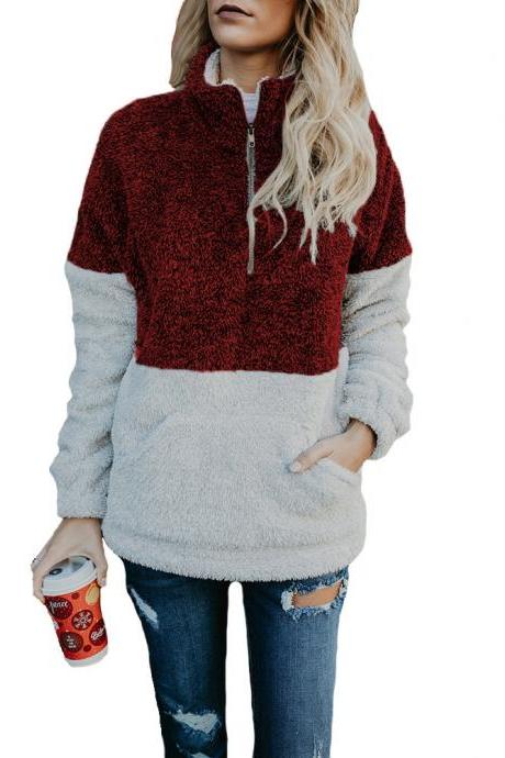Women Sweatshirt Autumn Winter Warm Turtleneck Long Sleeve Pocket Patchwork Zipper Casual Loose Pullover Tops burgundy