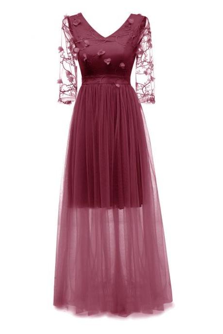 Women Floral Embroidery Maxi Dress V Neck 3/4 Sleeve Slim Long Formal Evening Party Bridesmaid Gowns burgundy