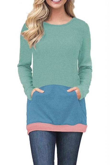 Women Sweatshirt Long Sleeve O-Neck Autumn Streetwear Pockets Striped Patchwork Slim Pullover Tops 100152-aqua