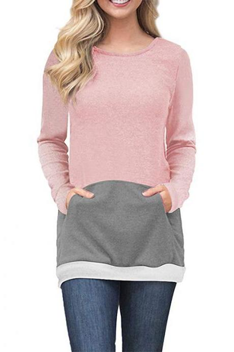 Women Sweatshirt Long Sleeve O-Neck Autumn Streetwear Pockets Striped Patchwork Slim Pullover Tops 100152-pink