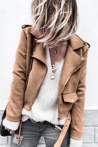 Women Faux Suede Jacket Autumn Long Sleeve Slim Matte Motorcycle Biker Coat Outerwear khaki
