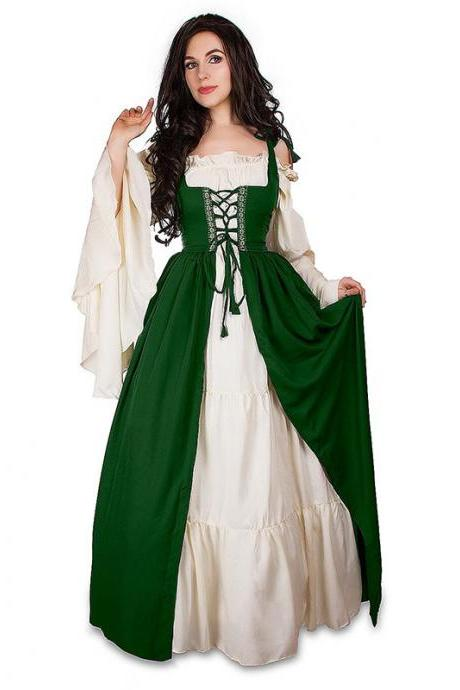 Vintage Halloween Oktoberfest Beer Girl Costume Maid Wench Germany Bavarian Plus Size Medieval Dress Dirndl green