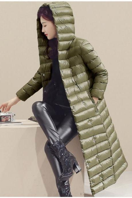 Women Long Duck Down Coat Hooded Long Sleeve Plus Size Slim Winter Ultra Light Jacket Outwear army green