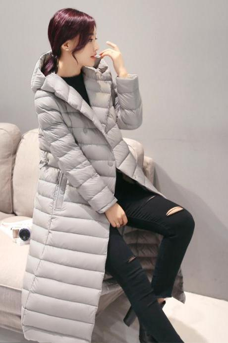 Women Long Duck Down Coat Hooded Long Sleeve Plus Size Slim Winter Ultra Light Jacket Outwear gray