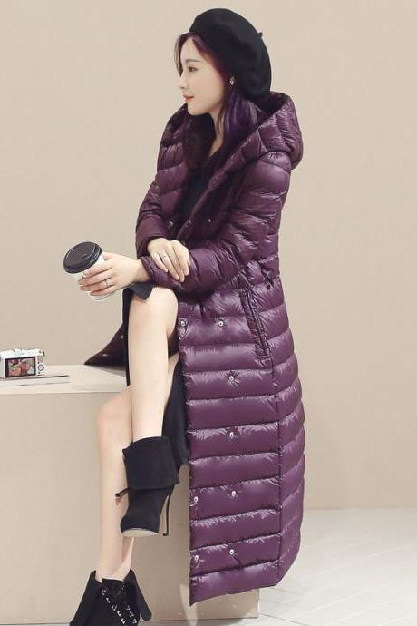 Women Long Duck Down Coat Hooded Long Sleeve Plus Size Slim Winter Ultra Light Jacket Outwear purple