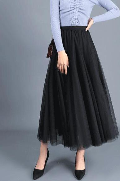 Women Long Tulle Mesh Skirt Elastic High Waist Streetwear Pleated Tutu A Line Maxi Skirt black