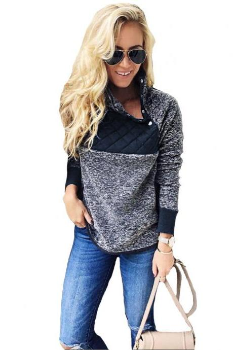 Women Sweatshirt Autumn Winter Covered Button Skew Collar Long Sleeve Casual Patchwork Warm Pullovers navy blue