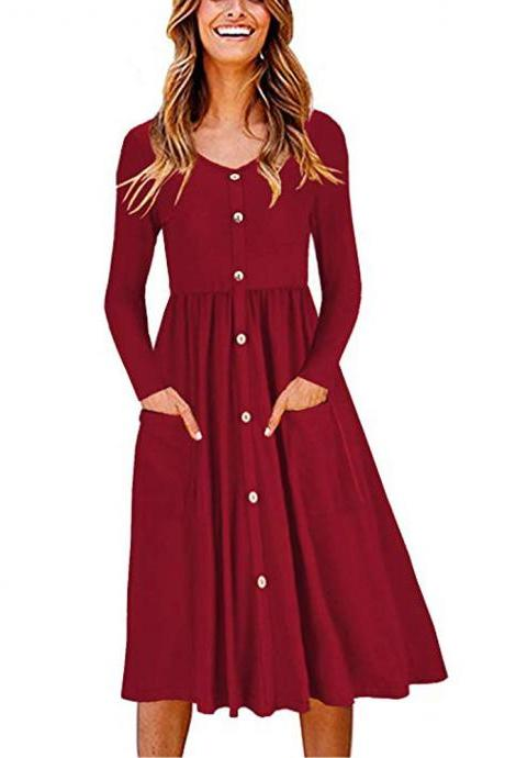 Women Casual Dress Autumn Button Long Sleeve Pockets Slim A Line Work Office Party Dress red
