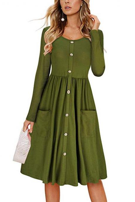 Women Casual Dress Autumn Button Long Sleeve Pockets Slim A Line Work Office Party Dress army green