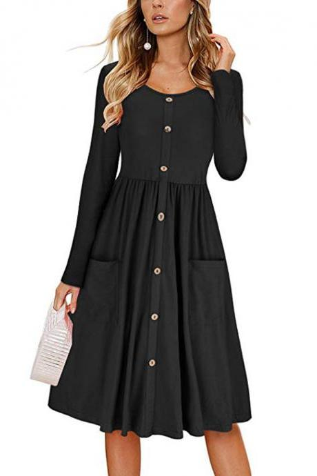 Women Casual Dress Autumn Button Long Sleeve Pockets Slim A Line Work Office Party Dress black