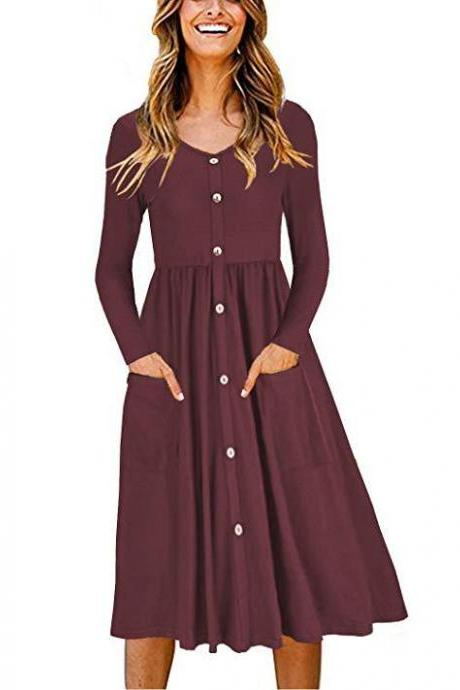 Women Casual Dress Autumn Button Long Sleeve Pockets Slim A Line Work Office Party Dress burgundy