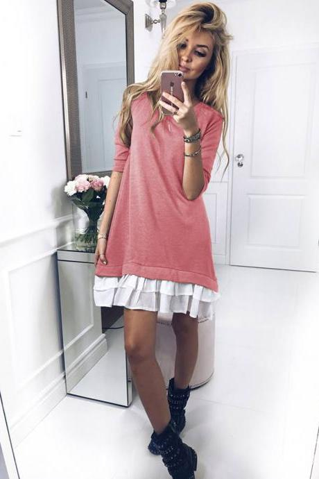 Women T Shirt Dress Autumn Long Sleeve Ruffles Patchwork Loose Warm Mini Casual Dress pink