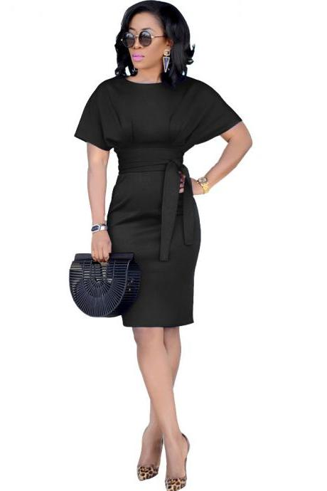 Women Pencil Dress Casual Short Sleeve Belted Bodycon Work Office Business Party Dress black