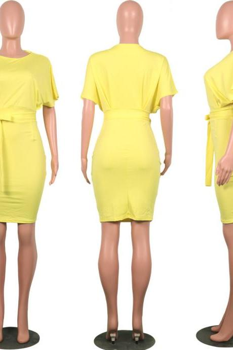 Women Pencil Dress Casual Short Sleeve Belted Bodycon Work Office Business Party Dress